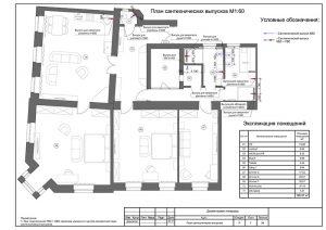 План сантехнических выпусков - чертежи дизайн проекта